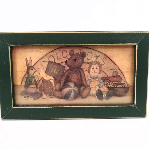 """""""Old Toys"""" Framed Wall Art Distressed Country"""